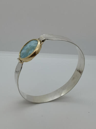 """""""Cielo"""" Larimar infattade i 14K guld , silver. 2750:- SEK"""